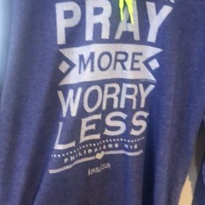 Long sleeve hooded shirt with saying